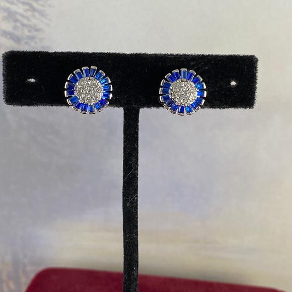 Gem Emporium Jewelry - Bright Blue Sapphire & CZ 925 Silver Post Earrings